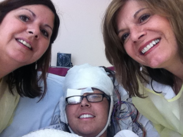 After my first brain surgery, my aunt Dana (left), and my aunt Caryn (right).