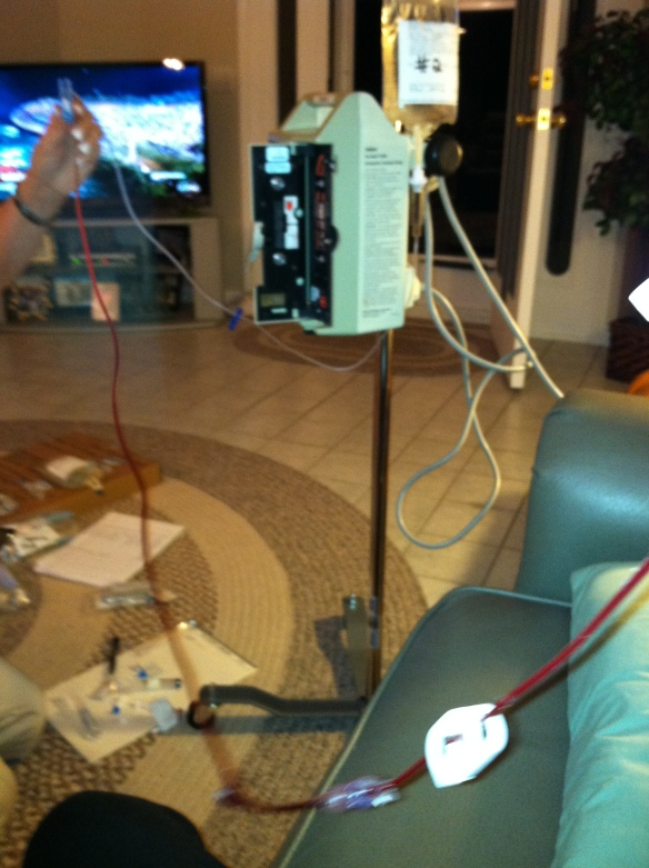 When we first were getting used to setting up the IV we did this so many times because the directions were so misleading