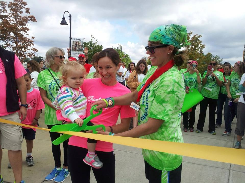 Little Charlee, her mother and I cutting the ribbon to kick-off the 2013 Liver Life Walk, Fairfield County!