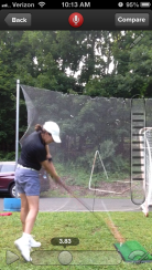 Working on my golf game in the back yard when I can't get a ride to the course!