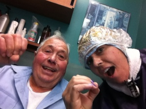 "Getting my hair colored for the first time since transplant! Poppy Rocco doing his ""oh yea?!?!?"" Lol."