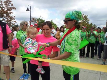 Cutting the ribbon with the other Liver Life Champion, Charlee, to kick-off the 2013 Liver Life Walk in Fairfield County!