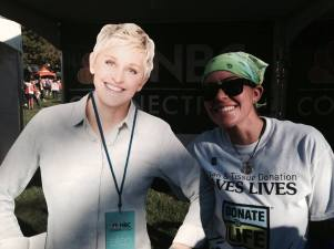 "At the ING Hartford Marathon I saw a cutout of Ellen. I consider this a ""sign"" that I will one day be on the Ellen show sharing my story, no pun intended :)"