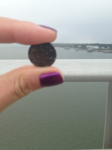 The medium told me that the spirit over my right shoulder was going to send me pennies and that it meant they were acknowledging me.  The next day I was walking and discovered my first penny at the top of the Vilano Bridge in St. Augustine, FL